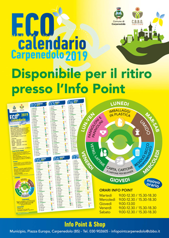 DISTRIBUZIONE DELL'ECOCALENDARIO DI CARPENEDOLO PRESSO L'INFO, POINT & SHOP