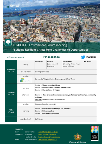 """Eurocities Environment Forum Meeting"", Genova, 3 - 5 Aprile"