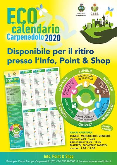 DISTRIBUZIONE ECOCALENDARIO 2020 - CARPENEDOLO